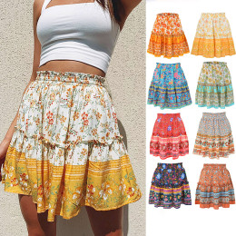 Bohemian ethnic style ruffled skirt