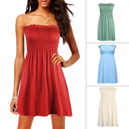 Beach waist-wrapped skirt summer solid color slim dress