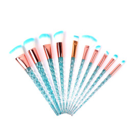 10pcs Unicorn Makeup Brushes Crystal Spiral Handle
