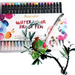 20 Color Painting Soft Watercolor Brush Pen