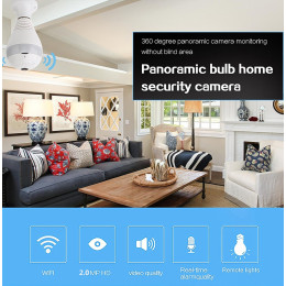 Bulb LED Light Wi-fi Panoramic camera