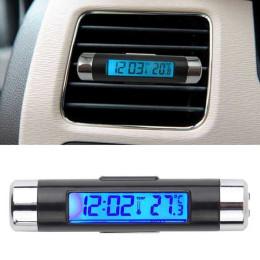 2in1 Car Digital LCD Temperature Thermometer Clock