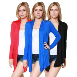 Women's Open Front Long Sleeve Cardigan