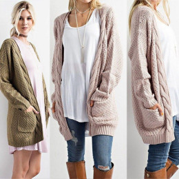 Sleeve Pointelle Front Chunky Warm Cardigans Open Pullover Cozy Sweater