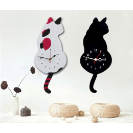 Creative Cute Wagging Tail Cat Wall Clock