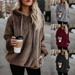Women Winter Warm Plush Hooded Loose Casual Pullovers