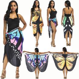 Women's Beach Cover Up Dress Butterfly Printed Spaghetti Strap Swimsuits Bikini Wrap Dress