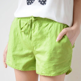 Women summer cotton linen casual shorts home pajama pants