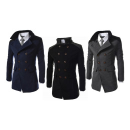 Winter Men's Fashion Casual Blend Jacket Men Woolen Coat
