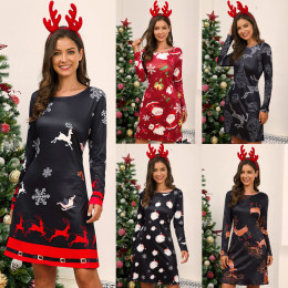 Christmas O-Neck Long Sleeve Dress