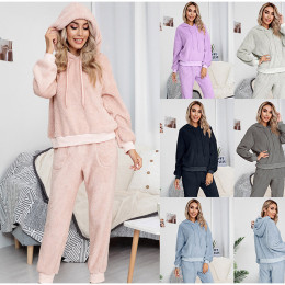 Women Double-sided Plush Drawstring Hoodies Sets Solid Long Sleeve Sweatshirt Casual Suit -  draw-suit-tt-r