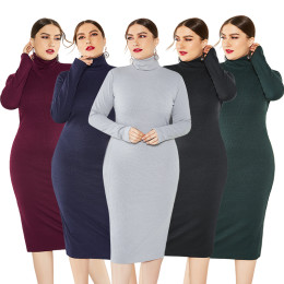 Knitted Turtleneck Sweater Plus Size Bodycon Dress for Winter
