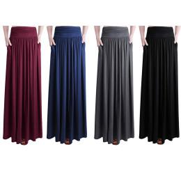 Women's High-Waist Shirring Maxi Skirt with Side Pockets