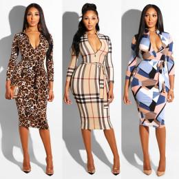 Women's Long Sleeve Tie Waist Bodycon Dress