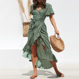 Women  Boho Chiffon Dress Ruffles Wrap V-Neck Split Dress