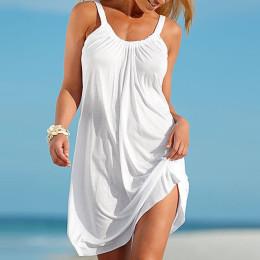 Beach Dress Boho Strap Loose Sexy Vest Dress Women Sleeveless Sundress