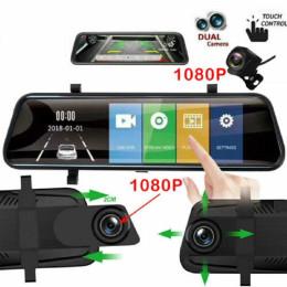 Jansite 10 inch Mirror 2.5D+1080P Car DVR Stream Media Super Night Vision Touch Screen Car Camera dash cam Parking Mode recorder