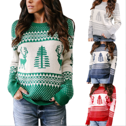 Christmas sweater female explosion models geometric elk jacquard sweater