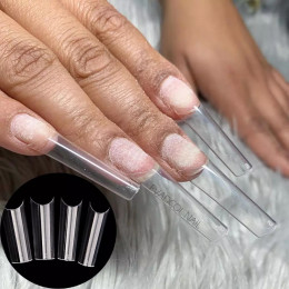 Extra Long Straight Square Tips C Curve Half Cover False Nails Fake Tip