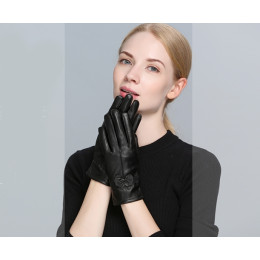 Women's Butterfly knot Genuine Leahter Gloves