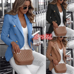 Women Double-Breasted Solid Color Collar Small Suit
