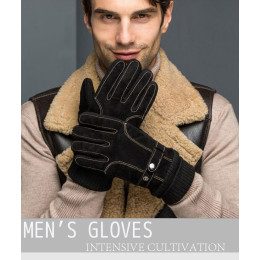 Men's Windproof Pigskin Slip Plus Velvet Thickening  Winter Warm Gloves