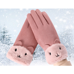 Winter Warm Cashmere Mittens Double thick Plush Wrist Women Touch Screen  Gloves