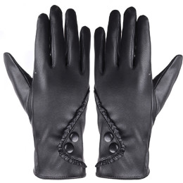 Autumn Winter Women Lady Black Leather Gloves