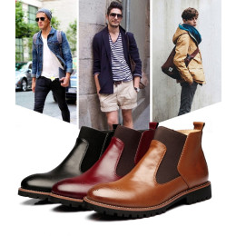Men Genuine leather Martin boots Pointed Toe Chelsea Boots
