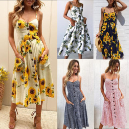 Women Sleeveless Sunflower Printing Button up Maxi Boho Dress with Pocket