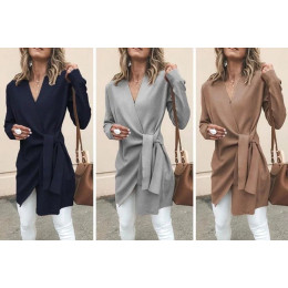 Winter Women clothing Casual Leather Tied Up V Neck Open Front Suit