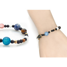 Solar System Galaxy The Eight Planets Star Natural Stone Bead Bracelets