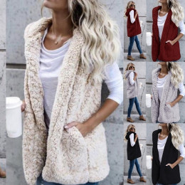 Women Winter Long Cardigan Women Sleeveless Hooded  Vest