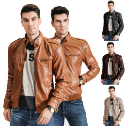 Men's PU leather collar  zipper slim jacket coat