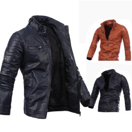 Men's stand collar zipper PU leather jacket