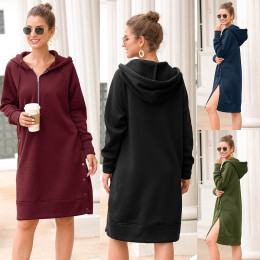 Women's hooded long sleeve long slit sweater