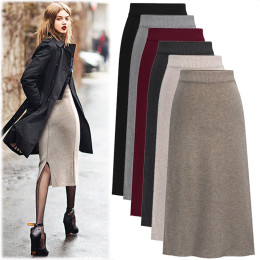 Women Knitted skirt winter new woolen skirt