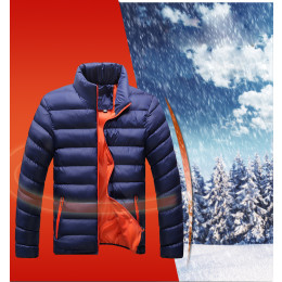 Men's Soild Color Warm Slim Fit Casual Thick Padded coat