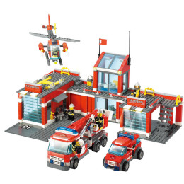 Fire Station Elimination Vehicle Fire Brigade Building Block Toys