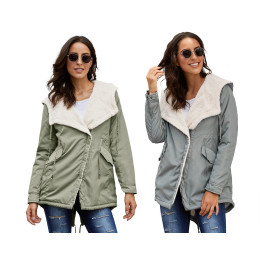Woman Winter Long Hooded Cotton Jacket