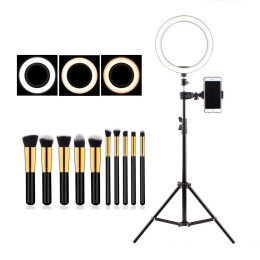 Ring Light Filming Set  with Ring Light Tripod and Makeup Brushes
