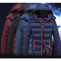 Winter Jacket Men Fashion Thermal Hooded   Casual Jacket