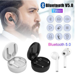 TW40 Bluetooth headphones with charging box