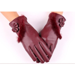 Women Winter Rabbit Fur Butterfly Touched Screen Warm Glove