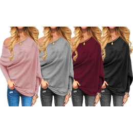 Womens  Off Shoulder Sweater Long Batwing Sleeves Solid Color Ribbed Knitted Pullover