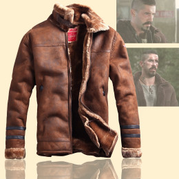 Winter Men vintage retro fur leather jacket warm coats