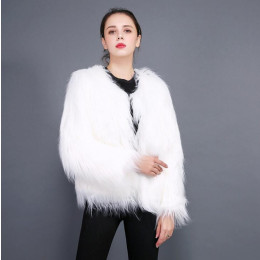 Furry Fur Coat Women Fluffy Warm Long Sleeve Outerwear