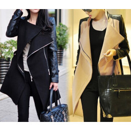 Women FashionLong Wool PU Leather Patchwork Jacket Coat Windbreaker