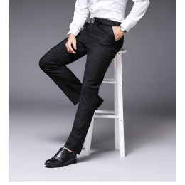 Men's Slim Fit Flat-Front Suit Separate Formal  Business Pants