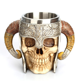 Stainless Steel Skull  Beer Goat Horn Resin Coffee skull Cup